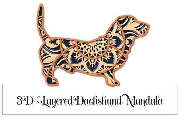 Dachshund Dog Mandala Layered 3D SVG - 4 Layers