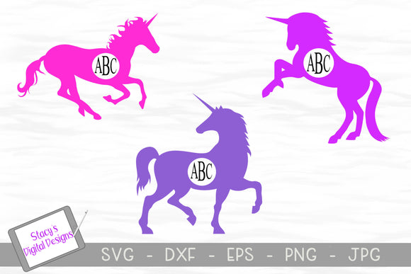 UnicornMonogram Frame Bundle - 3 Unicorn SVG Designs