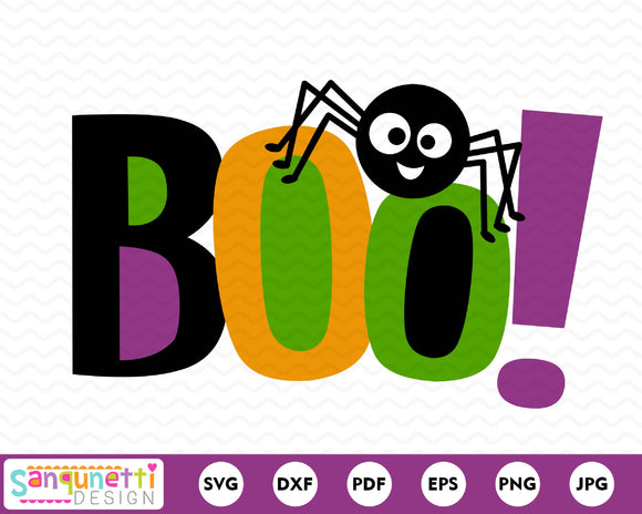 Boo Halloween lettering SVG with spider