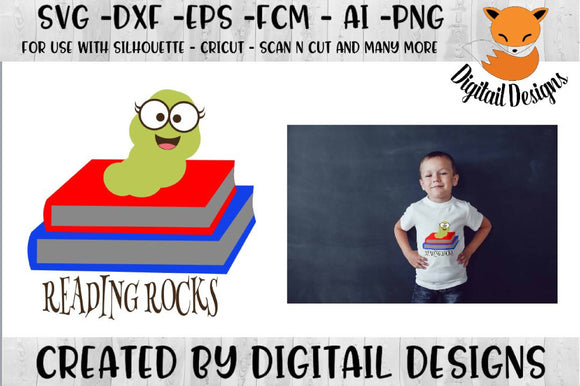 Reading Rocks Book Worm SVG