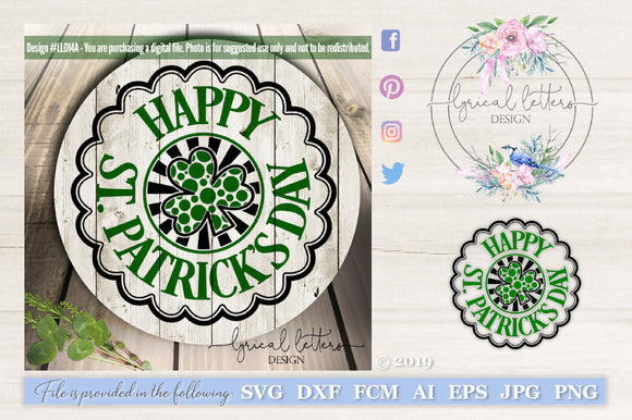 Happy St. Patrick's Day Badge Cut File
