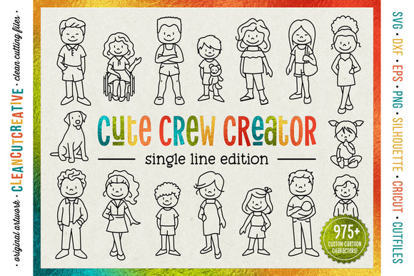 single line CUSTOM FAMILY CREATOR | foil quill laser engraving stick figure cartoon people