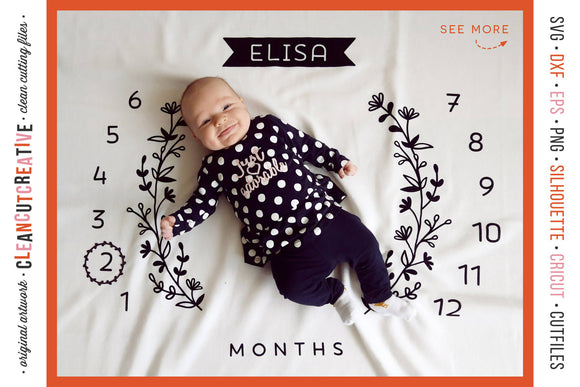 Baby Monthly Milestone Blanket svg personalized blanket cutfile design for Cricut Silhouette Scan n Cut Sublimation png | commercial use