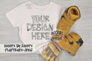 Child's T-Shirt with work boots and gloves, MOCK-UP