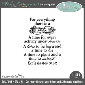 For Everything There Is a Season Ecclesiastes 3:1-2