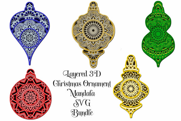 Layered Christmas Ornament Mandala Bundle 3D Layered SVGs