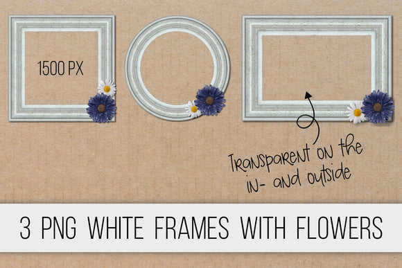 Wooden frames white PNG clipart