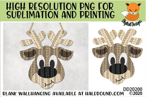 Knitted Reindeer Head Sublimation Design