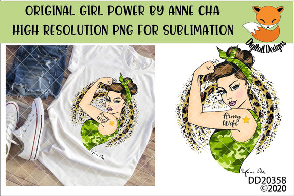 Girl Power By Anne Cha Art Army Wife Sublimation Design