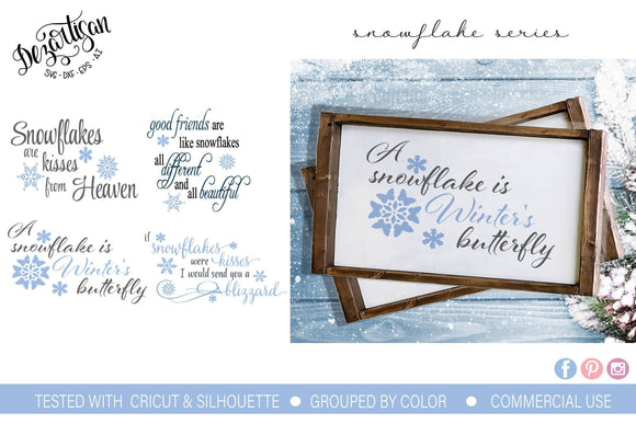 Winter Snowflake Kisses Bundle SVG | DXF Cut File