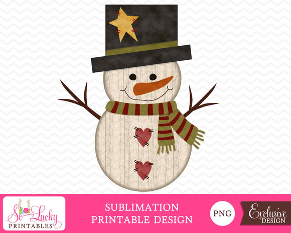 Rustic Snowman Christmas watercolor printable sublimation design - Digital download - PNG - Printable graphic design