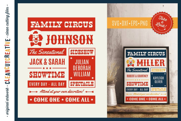 Family Circus Template SVG Cut File