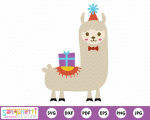 Birthday Llama SVG cutting file
