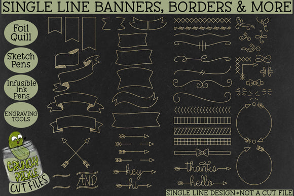Foil Quill Banners Borders and More / Single Line Sketch