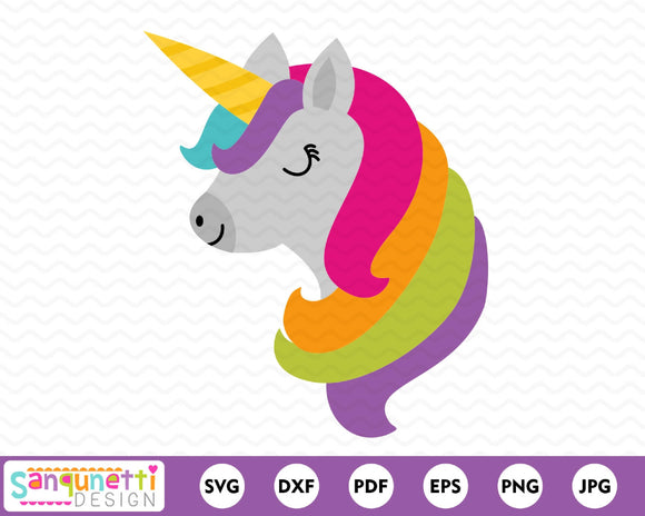 Unicorn head SVG, unicorn face cutting file