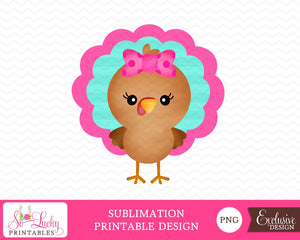 Girl Turkey Thanksgiving watercolor printable sublimation design - Digital download - PNG - Printable graphic design