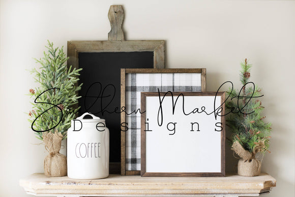 12x12 CHRISTMAS WOOD FRAMED SIGN DIGITAL MOCK UP STOCK PHOTOGRAPHY