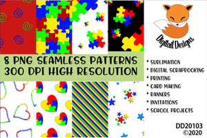 Autism Awareness Seamless Background Pattern Digital Paper Pack