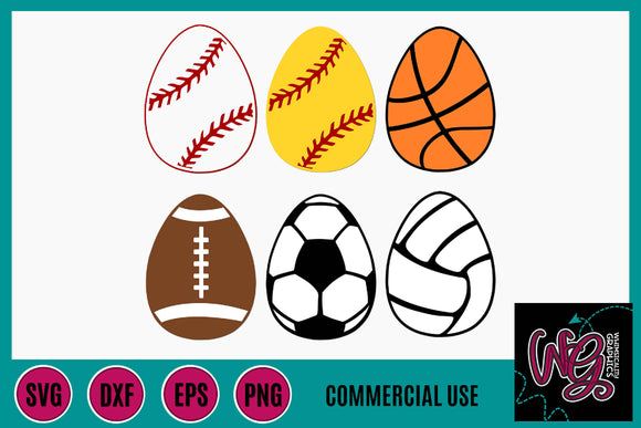 Easter Sports Eggs Cut File WG730