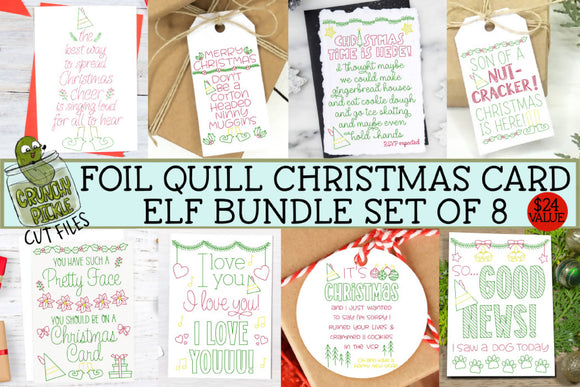 Foil Quill Bundle - 8 Elf Christmas Cards / Single Line SVGs