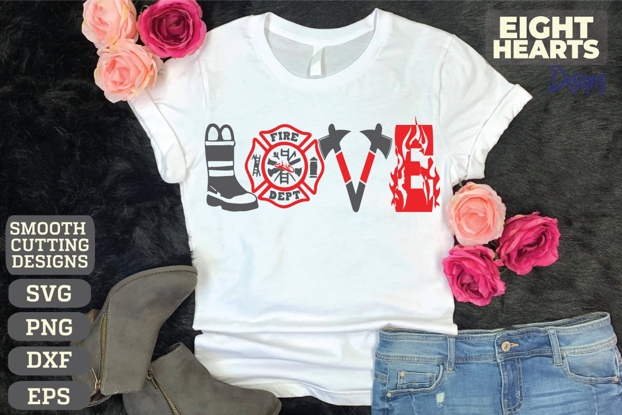 Download Firefighter Love - SVG|PNG|EPS|DXF - Cutting, Crafting ...