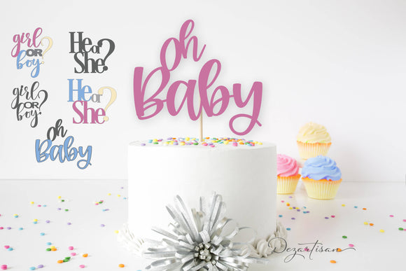 Gender Reveal Cake Topper Mini Bundle SVG | DXF Premium Cut File for Cricut & Silhouette Machines