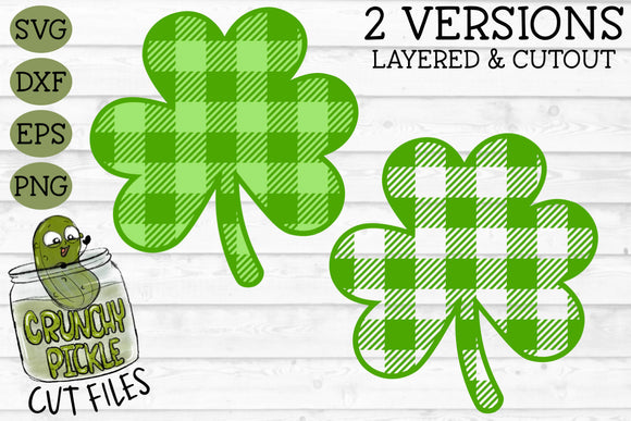 Buffalo Plaid Shamrock / Clover / St. Patrick's SVG Cut File