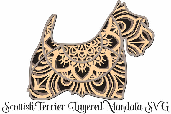 Scottish Terrier Dog Mandala Layered 3D SVG - 4 Layers