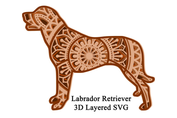 3D Layered Labrador Retriever Dog Mandala SVG - 5 Layers
