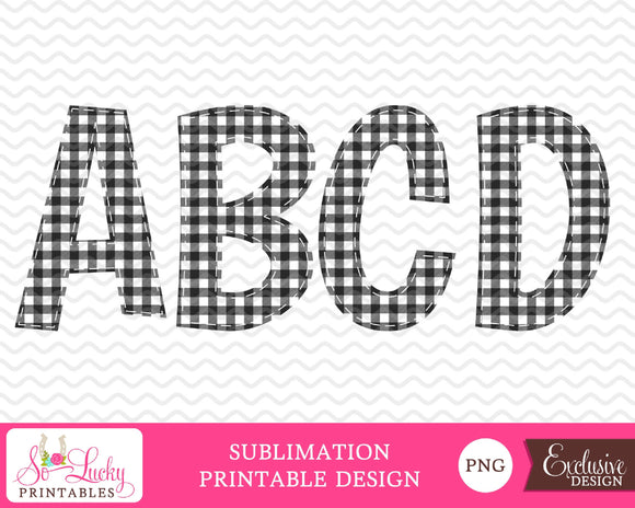 Buffalo Plaid black check letters watercolor printable sublimation design - Digital download - PNG - Printable graphic design