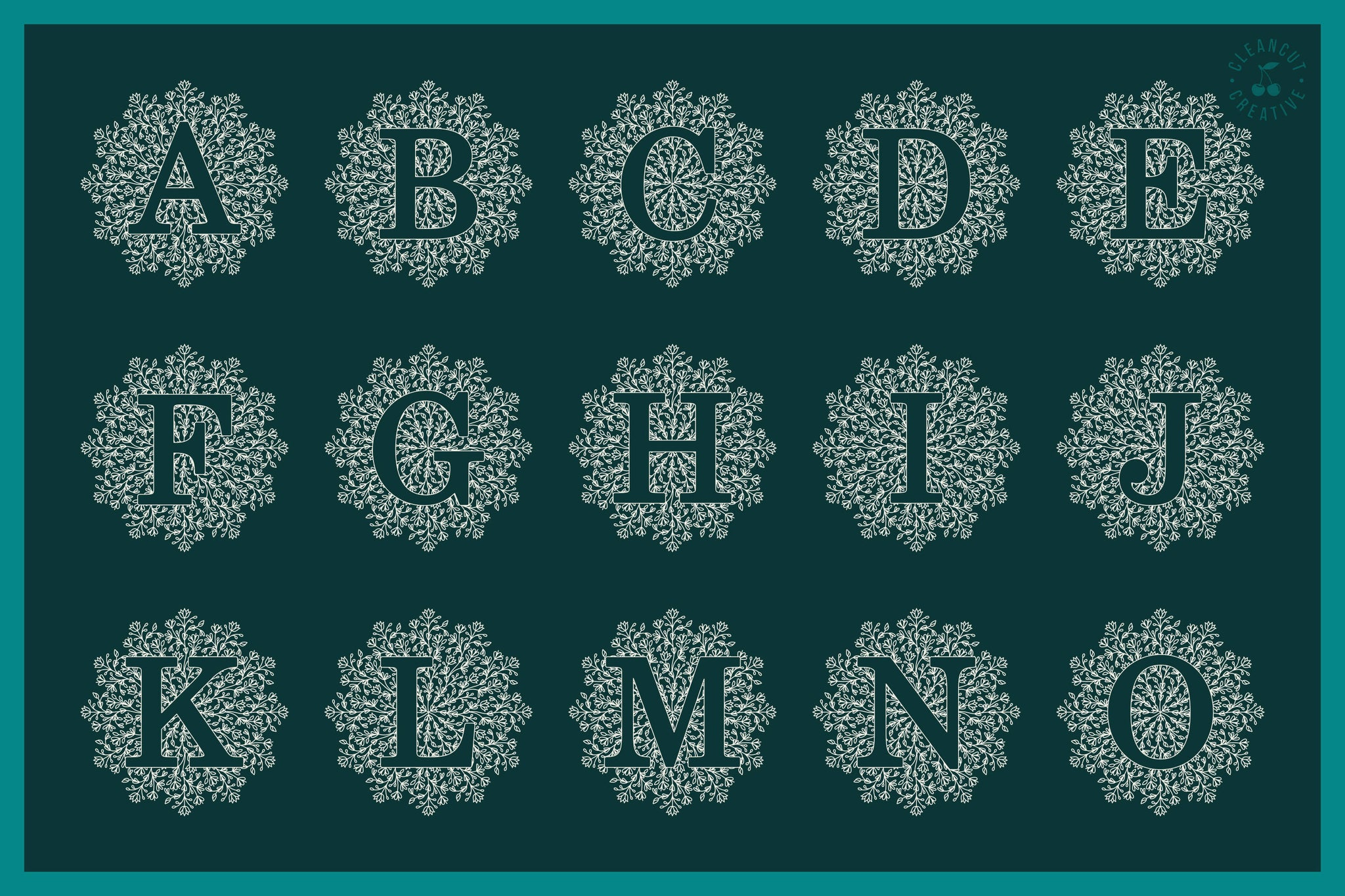 Download Intricate Mandala Monogram Alphabet for craft cutters in ...