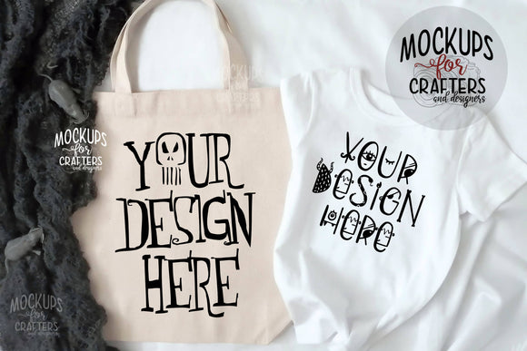 Trick or Treat Bag, Tote Bag & T-shirt - Mock-Up - Double Duty