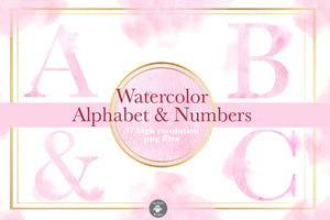 Pink Watercolor Alphabet Clipart