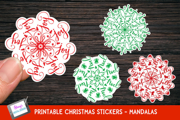 Christmas Stickers - 4 Christmas Mandala Stickers
