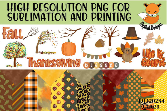 Fall Sublimation Elements Scrapbooking Kit