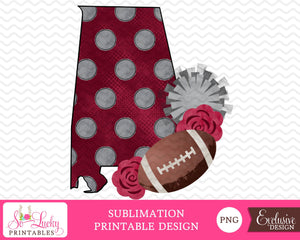 Alabama football with flowers watercolor printable sublimation design - Digital download - PNG - Printable