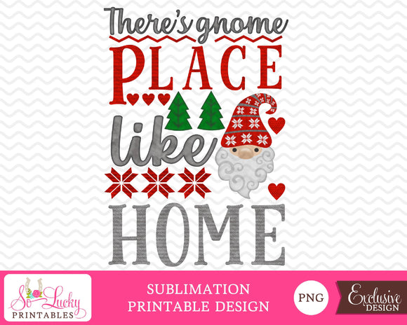 There's gnome Place Like Home Christmas watercolor printable sublimation design - Digital download - PNG - Printable graphic design