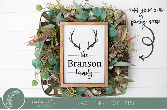 Antlers Customizable Family Name SVG