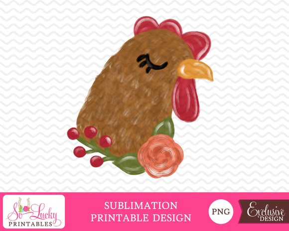 Chicken watercolor printable sublimation design - Digital download - PNG - Printable graphic design