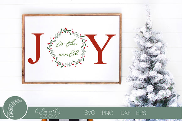 Joy To The World Wreath Christmas SVG