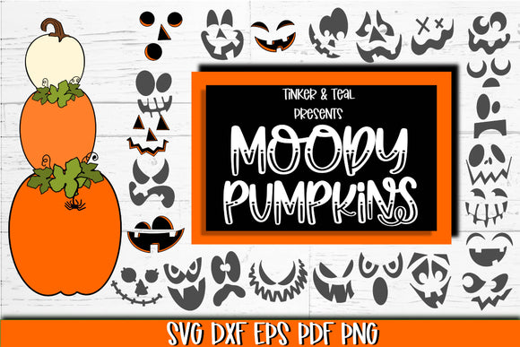 Moody Stackable Pumpkins SVG Bundle - Halloween SVG Bundle