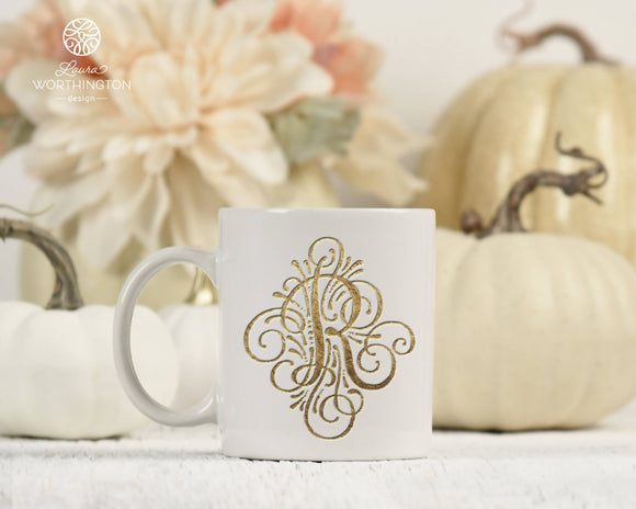 Adorn Solo Letter R Monogram - Sublimation Printable Design