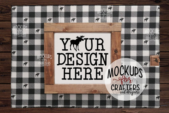 Mock-Up - Wood Sign - Buffalo Plaid theme