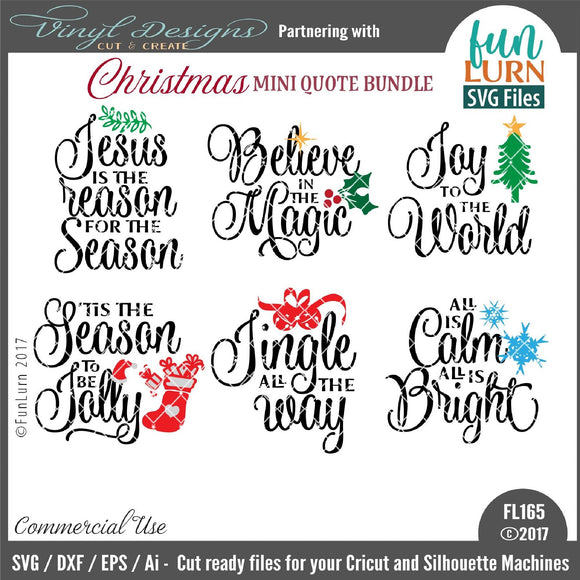 Christmas Mini Quote Bundle Cut File