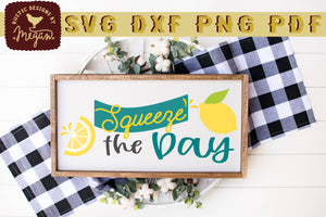 Squeeze The Day Lemon Wood Sign SVG DXF Cut File