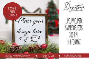 Christmas Square Wood Sign Mock Up Farmhouse Style PSD, JPG, PNG