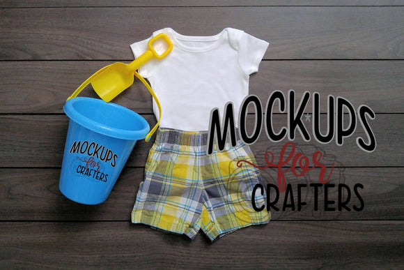 1PC baby bodysuit with dollar store pail & shovel