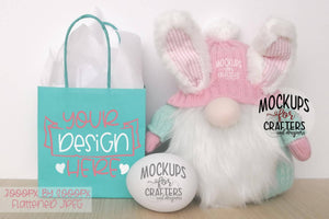 Gift Bag Mock-Up - Easter / Spring, Bunny Gnome