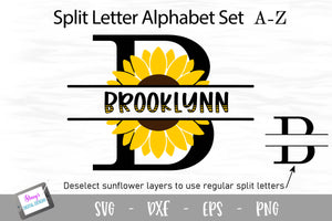 Sunflower Split Letters - 26 split monogram SVG files