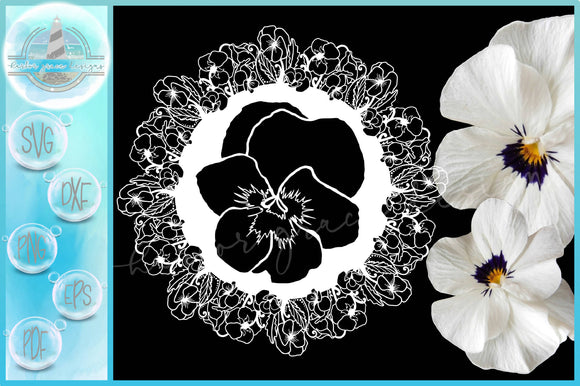 Pansy Pansies Flower Floral Mandala Zentangle SVG